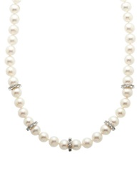 Lord And Taylor Sterling Silver Fresh Water Pearl And White Topaz Necklace