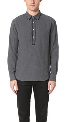 Officine Generale Ethan Japanese Flannel Shirt Mid Grey
