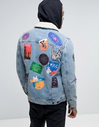Asos Denim Jacket With Patches And Borg Collar In Blue Wash Blue