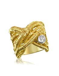 Orlando Orlandini Capriccio Diamond 18K Yellow Gold Crossover Ring