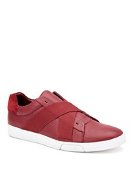 Calvin Klein Baku Tumbled Leather Sneakers Red