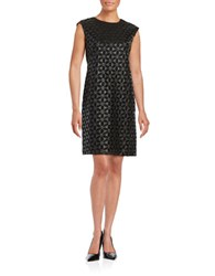 Karl Lagerfeld Faux Leather Floral Shift Dress Black