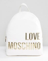 Love Moschino Backpack With Large Logo White