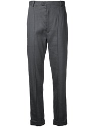 Isabel Marant Tailored Straight Fit Trousers Women Silk Cotton Linen Flax Viscose 40 Grey