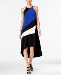 Inc International Concepts Petite Colorblocked High Low Halter Dress Only At Macy's Goddess Blue