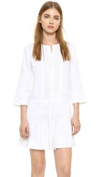 Vince Pleated Drop Waist Dress Optic White