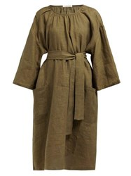 Denis Colomb Tie Waist Linen Dress Khaki