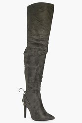 Boohoo Pointed Toe Over The Knee Boot Khaki