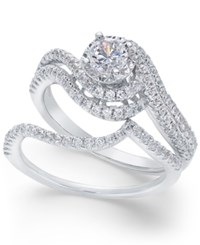 Macy's Diamond Swirl Bridal Set 1 Ct. T.W. In 14K White Gold