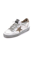 Golden Goose Ball Stag Sneakers White Leopard