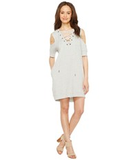 Blank Nyc Sweatshirt Dress With Lace Detailing In Negative Space Negative Space White