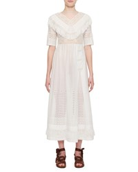 Christian Dior Cotton Chiffon Dress With Embroidery White