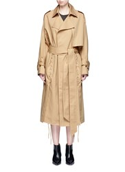 Ych Belted Cotton Twill Lace Up Trench Coat Brown