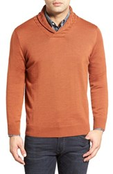 Men's Thomas Dean Shawl Collar Sweater Burnt Orange