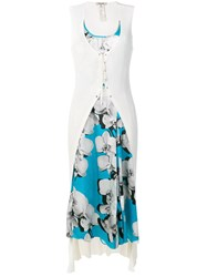 Roberto Cavalli Hybrid Cardigan Dress White