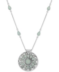 Lucky Brand Silver Tone Green Stone And Imitation Pearl Pendant Necklace