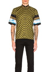 Givenchy Printed Short Sleeve Shirt In Green Checkered And Plaid Green Checkered And Plaid