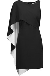 Halston Heritage Draped Crepe Mini Dress Black