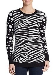 Saks Fifth Avenue Red Mixed Print Cotton Sweater Black White