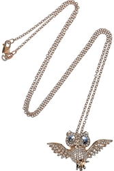 Anita Ko Owl 18 Karat Rose Gold Diamond And Moonstone Necklace