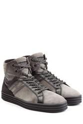 Hogan Rebel Suede And Leather High Top Sneakers Grey
