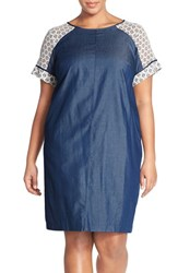 Plus Size Women's London Times Lace Sleeve Denim Chambray Shift Dress