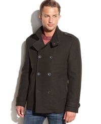 Kenneth Cole Modern Wool Blend Military Pea Coat Charcoal