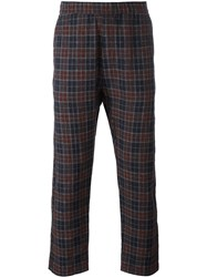 Barena Checked Trousers Blue