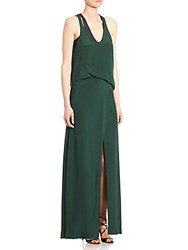 Moschino Long Sleeveless Silk Dress Green