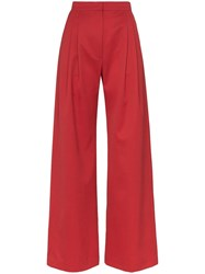 House Of Holland X Woolmark High Waisted Wide Leg Trousers Red
