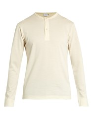 Sunspel Henley Vintage Wool Sweater Cream