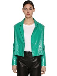 Drome Cropped Crackled Leather Jacket Green Mint