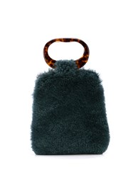 Edie Parker Shearling Grab Bag Tote Green