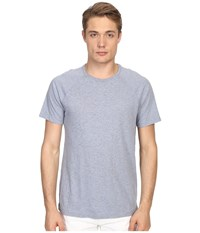 Vince Cotton Slub Fabric Blocket Short Sleeve Raglan Heather Denim Men's T Shirt Blue
