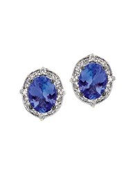Levian Tanzanite Diamond And 14K Vanilla Gold Stud Earrings White Gold