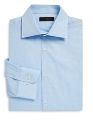 Ike Behar Regular Fit Gingham Pickstitch Cotton Dress Shirt Light Blue