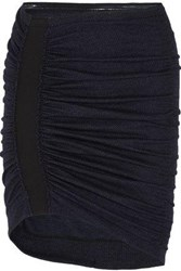 Atlein Ruched Wool And Cotton Blend Tweed Mini Skirt Indigo