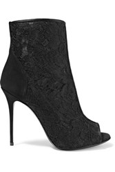 Giuseppe Zanotti Suede Paneled Corded Lace And Mesh Ankle Boots Black