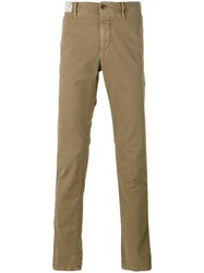 Incotex Fitted Trousers Men Cotton Spandex Elastane 36 Green