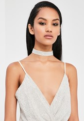 Missguided Silver Sequin Choker Necklace