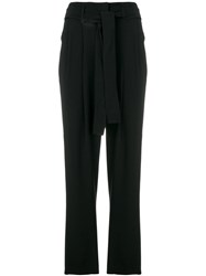Michael Michael Kors Cropped Belted Trousers Polyester Black