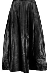 Blk Dnm Skirt 26 Pleated Leather Midi Skirt Black