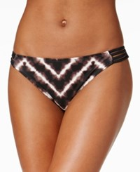 Hula Honey Electric Tie Dyed Strappy Hipster Bikini Bottoms Women's Swimsuit Black Grey