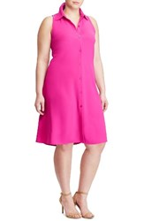Lauren Ralph Lauren Plus Size Women's Sleeveless Crepe Shirtdress Orchid Pink