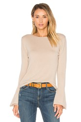 Central Park West Vienna Cashmere Bell Sleeve Sweater Beige