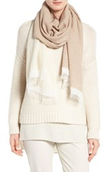 Eileen Fisher Women's Recycled Cashmere Blend Colorblock Scarf Soft White