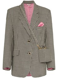 Natasha Zinko Houndstooth Print Bag Detailed Blazer Black