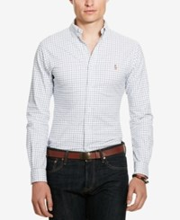 Polo Ralph Lauren Men's Long Sleeve Slim Fit Checked Stretch Oxford Shirt White Blue Multi