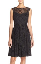 Ellen Tracy Women's Plaid Mesh Fit And Flare Dress