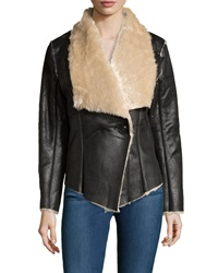 Neiman Marcus Faux Shearling One Button Jacket Brown Comb